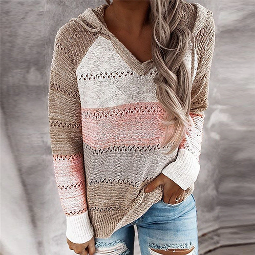 Hooded Autumn Patchwork Sweater