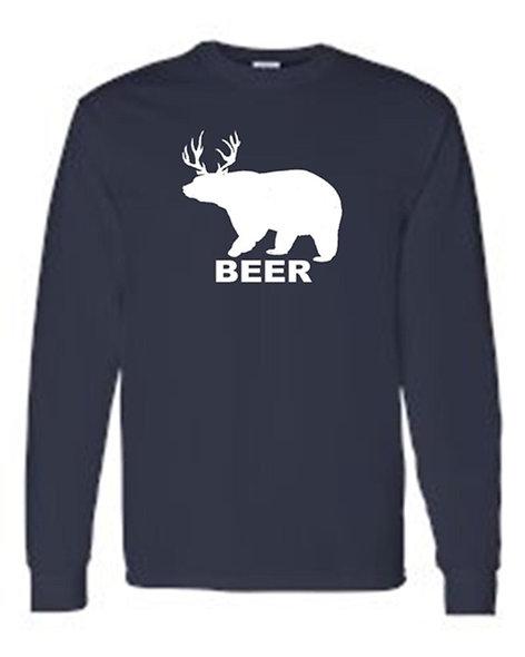 Men's/Unisex Drinking Bear Deer Beer  Long Sleeve