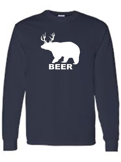 Men's/Unisex Drinking Bear Deer Beer  Long Sleeve