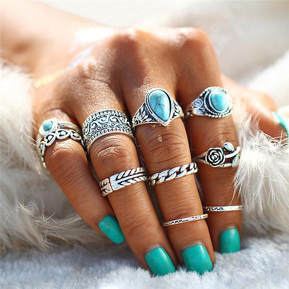 10pc Turquoise Retro Rings