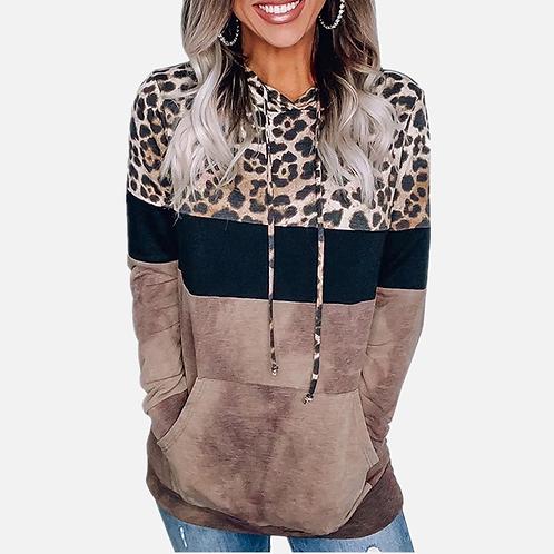 Oversized Leopard Patchwork Hoodie