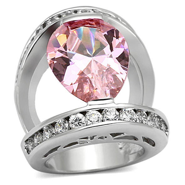 LOA924 Rhodium Brass Ring with AAA Grade CZ in
