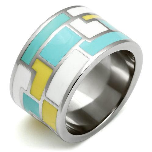 Women Stainless Steel Epoxy Rings TK514