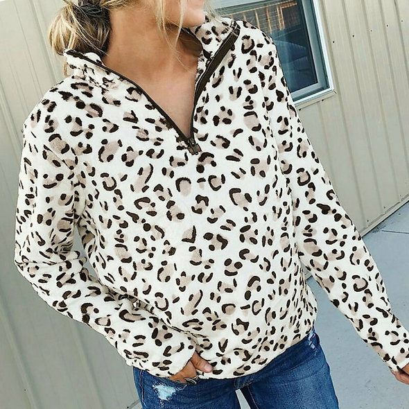 Thick Fleece Leopard Pullover Hoodie