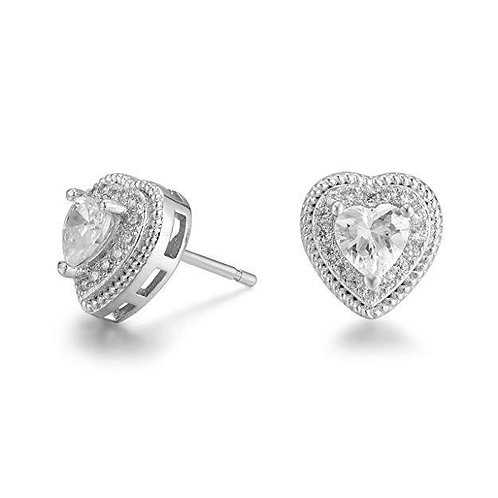 Pave Halo Heart Stud Earring Embellished with