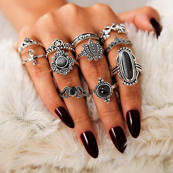 11pcs Silver Alloy Rings