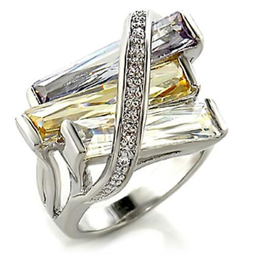 6X016 Rhodium Brass Ring with AAA Grade CZ in
