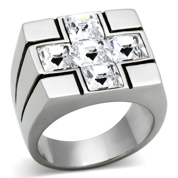 Men Stainless Steel Synthetic Crystal Rings TK919