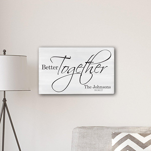 """Personalized Better Together Modern Farmhouse 14"""" X 24"""" Canvas Sign"""