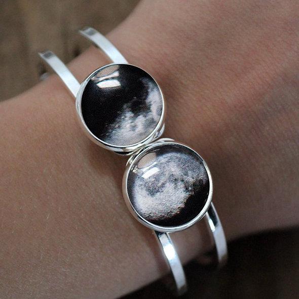 My Moon Hinged Cuff Bracelet - 2 Custom Moon Dates
