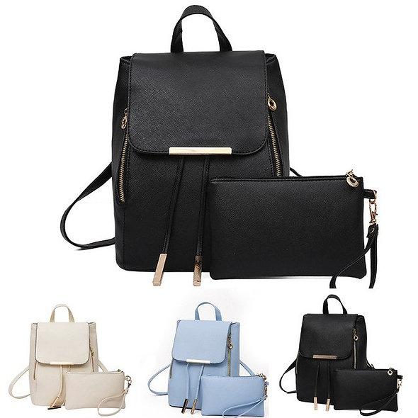 2Pcs Fashion Backpack Women Girls Leather Backpack