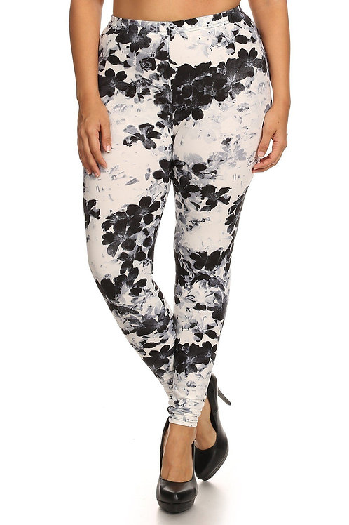 Super Soft Peach Skin Fabric, Floral Graphic Printed Knit Legging