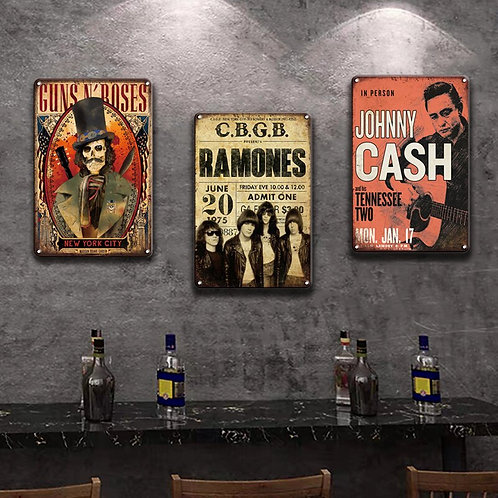 Rock N Roll Metal Poster Tin Signs