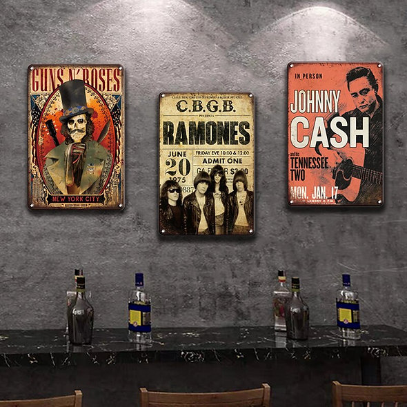 Rock N Roll Metal Poster Tin Signs
