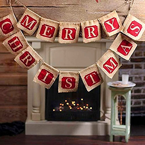 Christmas party decorations Hessian Burlap Merry