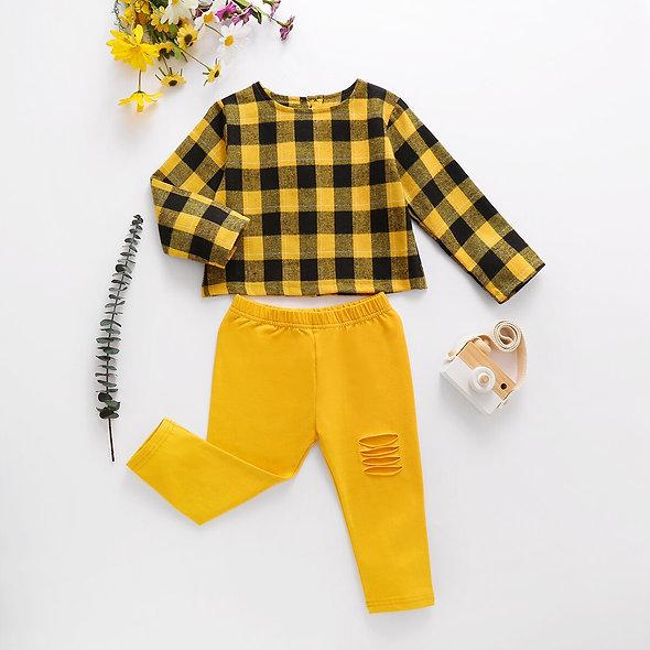 2pc Toddler Gold/Plaid Set