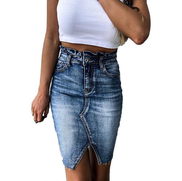 Retro Washed Denim Skirt