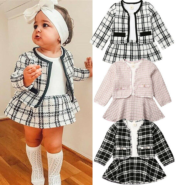 Long Sleeve Plaid Coat Tops + Dress