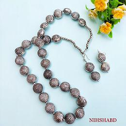Classic Silver Stone Oxidized Necklace