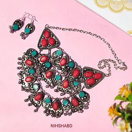 Naaz Stone Oxidized Necklace