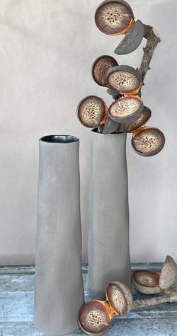 Keramik Vase hoch kakhi