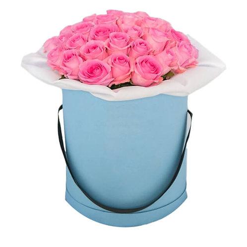 25 шикарных РОЗОВЫХ роз в коробке