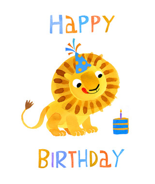 Happy birthday card - Lion