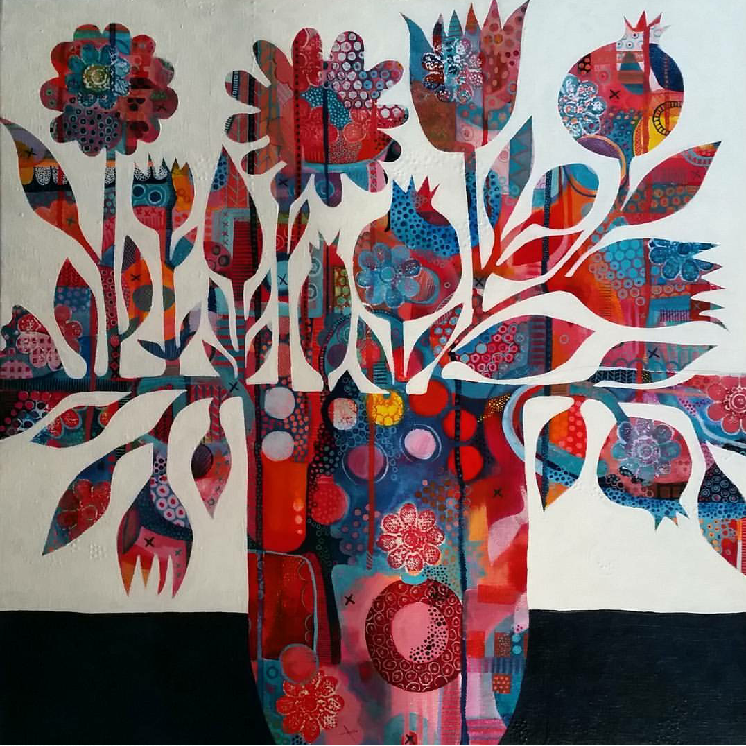 Flowers in the House SOLD 50 x 50cm