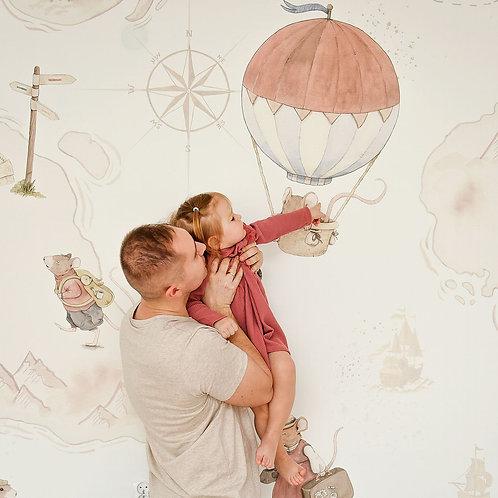 VINTAGE MOUSE - Myszki Podróżniczki - tapeta dla dzieci