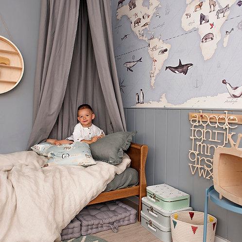 MAPS blue - niebieska tapeta mapa do pokoju dziecka