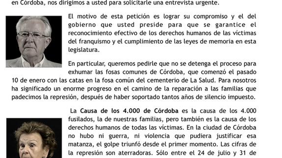 Dejadnos llorar reclama al presidente de la Junta la continuidad de las exhumaciones, nuevas tomas d