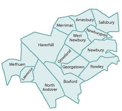 map of lower Merrimack Valley in Massachusetts