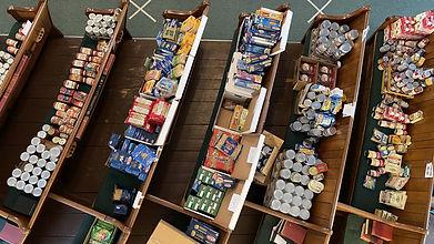 Photo of food stored at Newbury food pantry