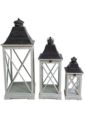 Lantern Set of 3 White 000 427