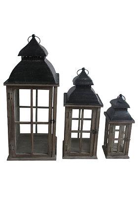 Lantern Set of 3 Wood 000 428