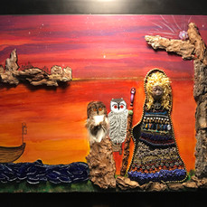 No. 1000 Goddess and the Owls  16x20 Canvas 3-D with real tree bark, glass, beads, gemstones