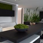 Mechový panel nad kuchyňskou linkou