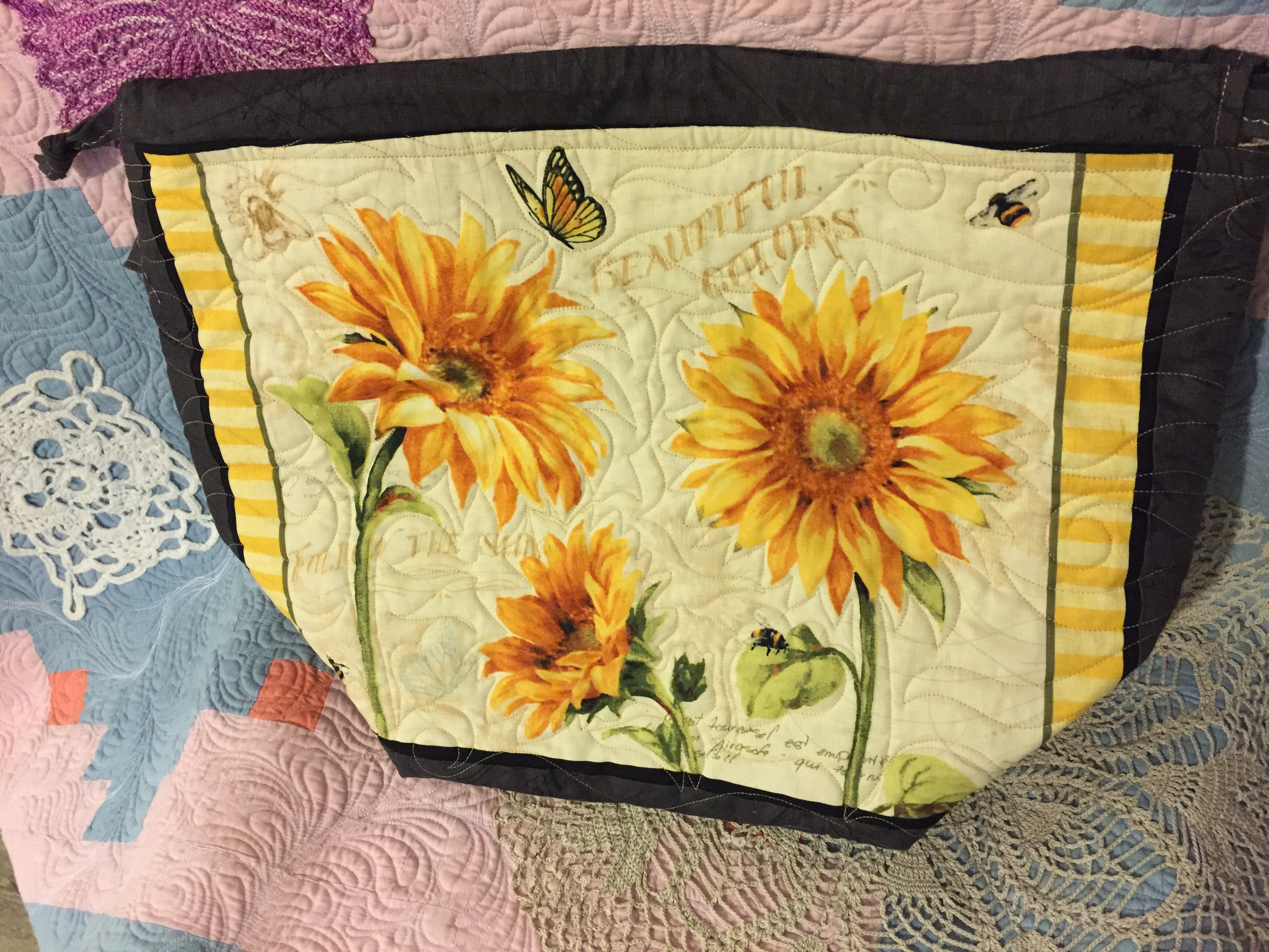 Quilted Sunflowers Sweater Size