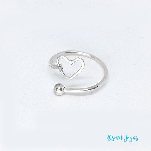 Anillo Mini corazón (plata de ley)