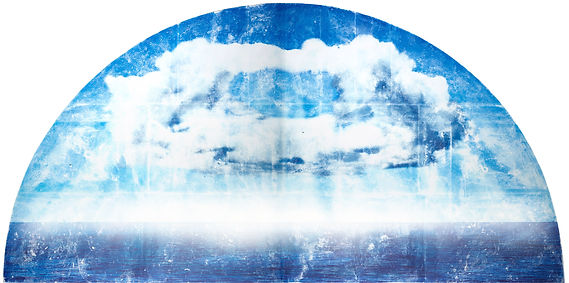 demi cercle nuage fond blanc horizon flo