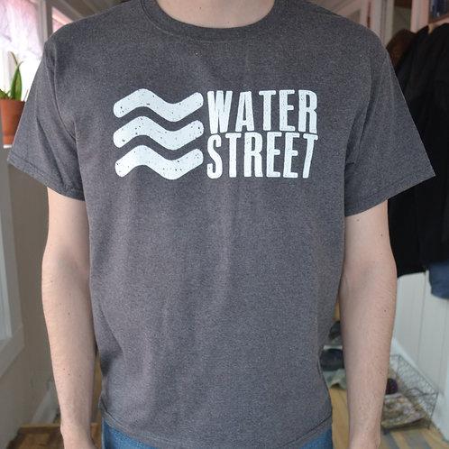 Water Street-T  Dk Grey w/White Lettering