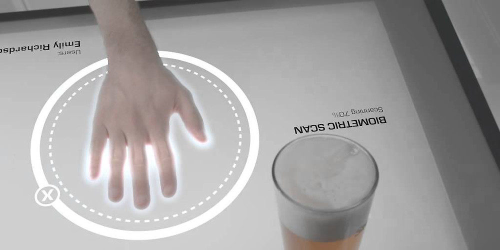 Biometric fingerprint scanner and beer.
