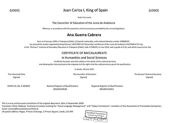 Certified Translation of Spanish Academic Records