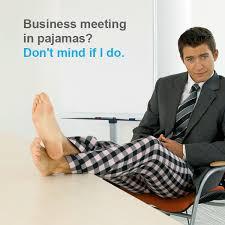 Certified translation meeting wearing pyjama bottoms