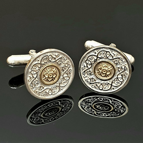 Sterling Silver Ardagh Cufflinks with 14k Gold Centre