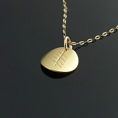 Ogham Initial Pendant - Gold 1 Disc