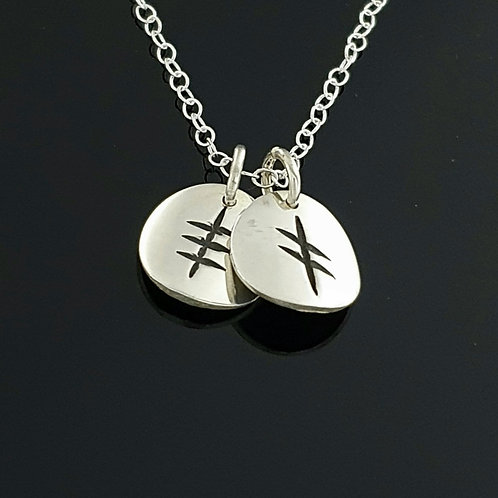Ogham Initial Pendant - Silver 2 Disc