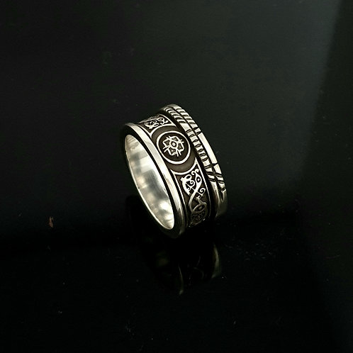 12mm Sterling Silver Ardagh Ring with Personalised Ogham Inscription