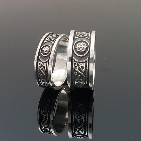 Celtic Shield  Wedding Ring - 10mm oxidised with flat trim
