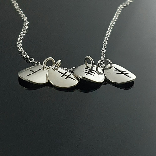Ogham Initial Pendant - Sterling Silver 4 disc  Disc